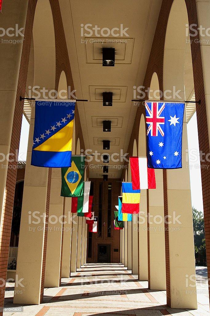 Corridor of Flags stock photo
