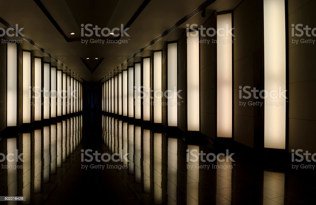 Corridor of mirrors stock photo