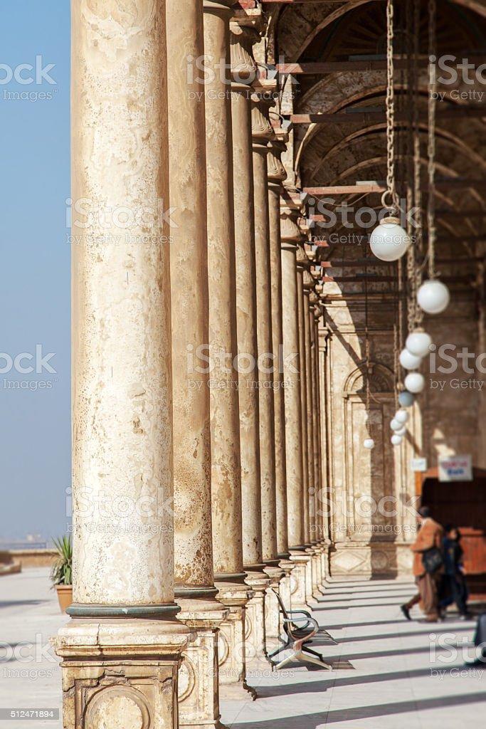 Corridor of Mohammed Ali Mosque stock photo