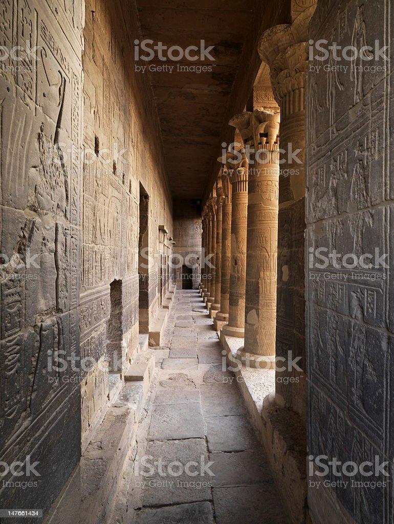 Corridor of Philae Temple royalty-free stock photo