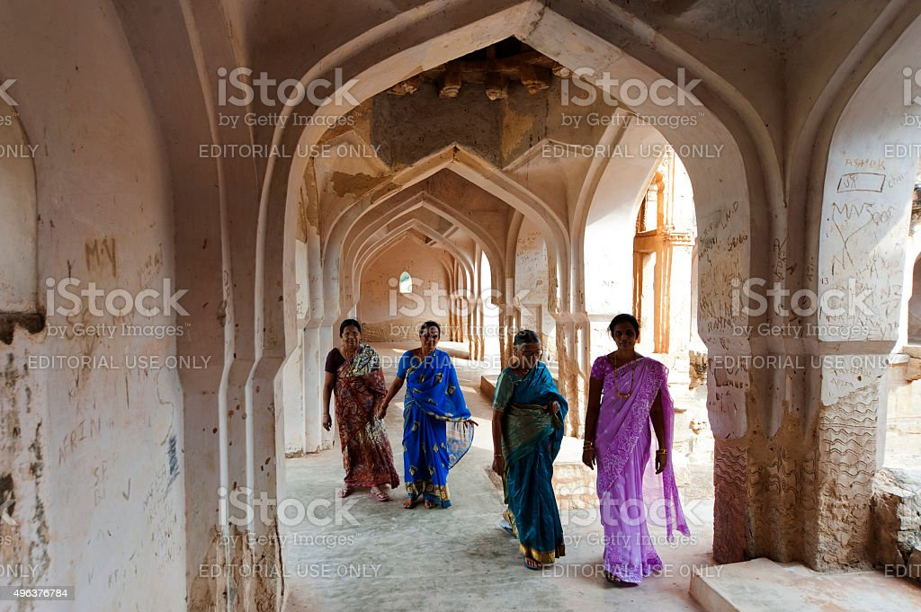 Corridor of the The Queen's Bath in Hampi, India stock photo