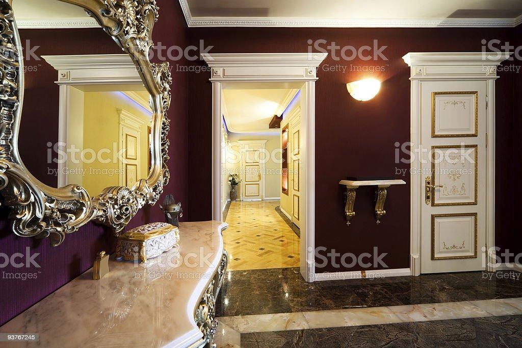 corridor with a door royalty-free stock photo