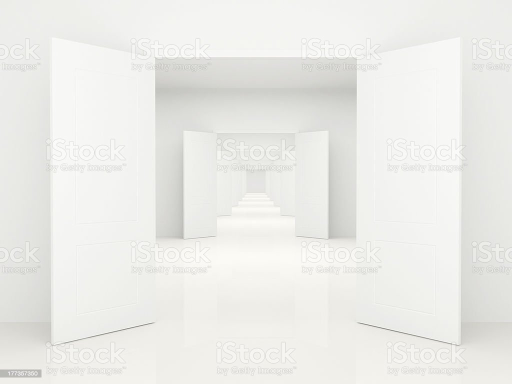 Corridor with open doors stock photo
