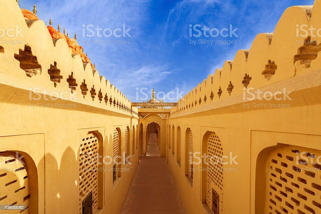 Corridors at Hawa Mahal Palace (Palace of Winds), Jaipur, Rajasthan stock photo