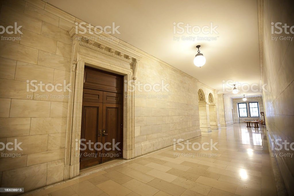 Corridors on Public library stock photo