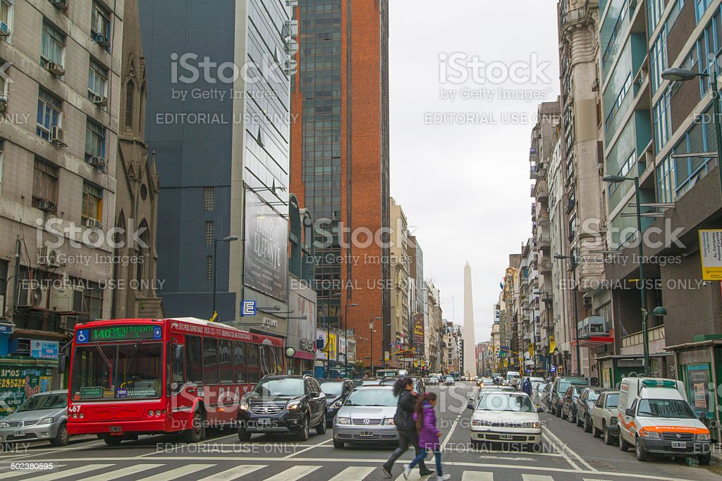 Corrientes Avenue in Buenos Aires royalty-free stock photo