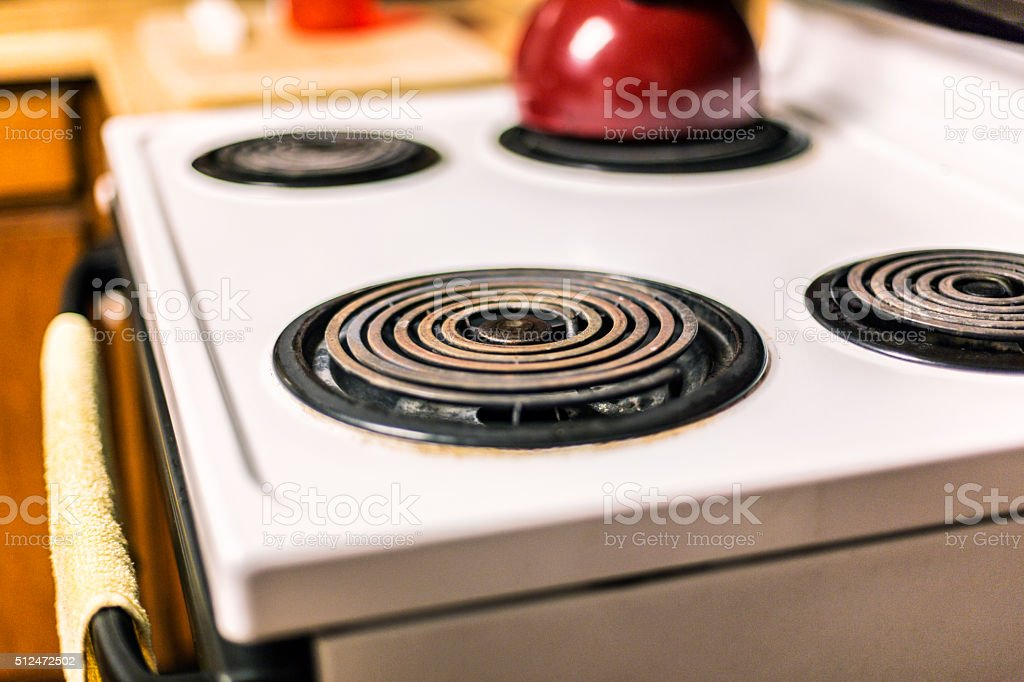 Corroded Kitchen Electric Range Cooking Stovetop Circular Burners stock photo