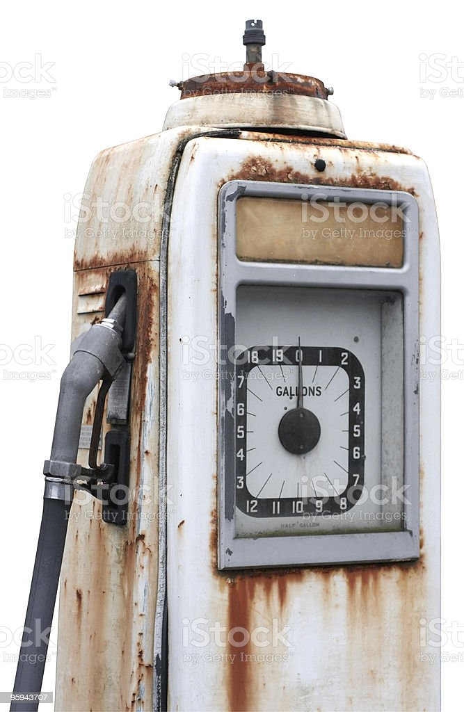 corroded old filling pump detail stock photo