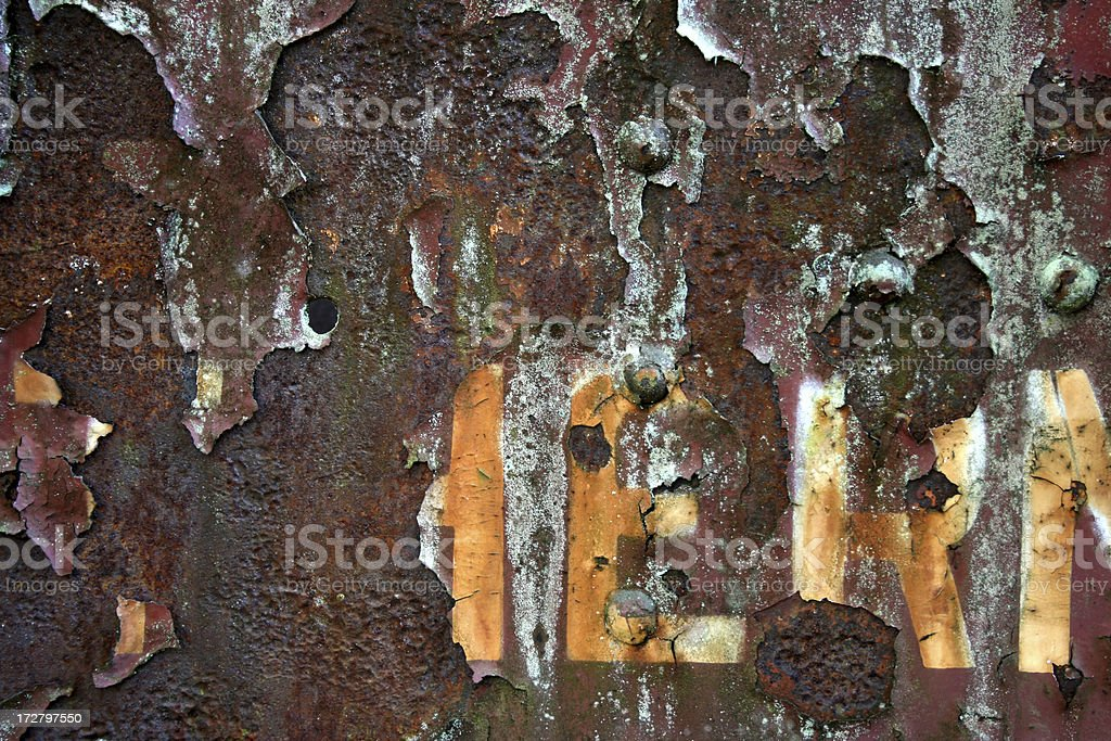 Corroded rust covered train side royalty-free stock photo