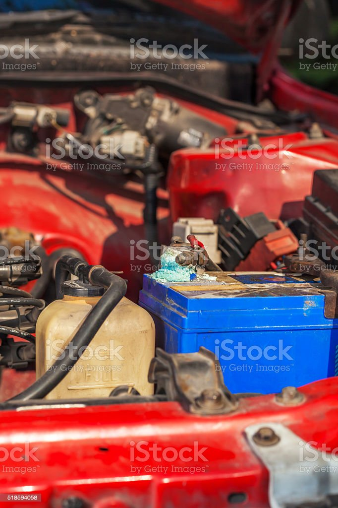 Corrosion build up on car battery terminals stock photo