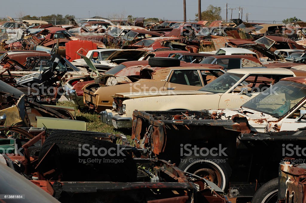 Corrosion on old dumped cars stock photo