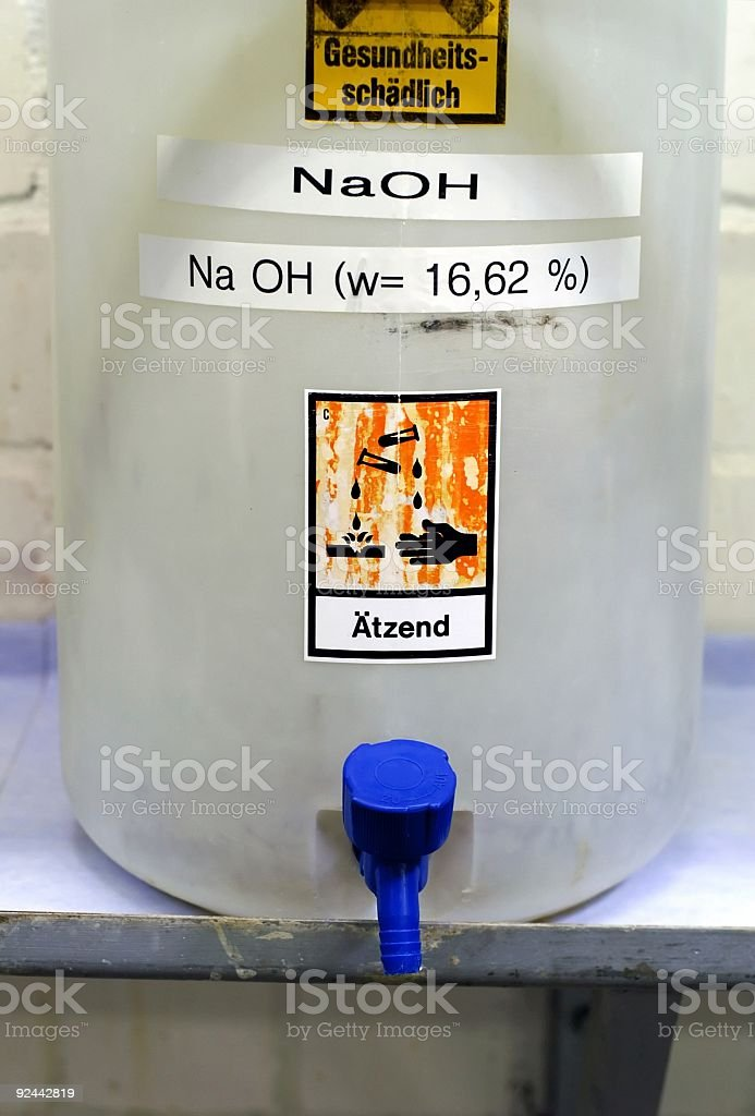 Corrosive Chemical NaOH stock photo