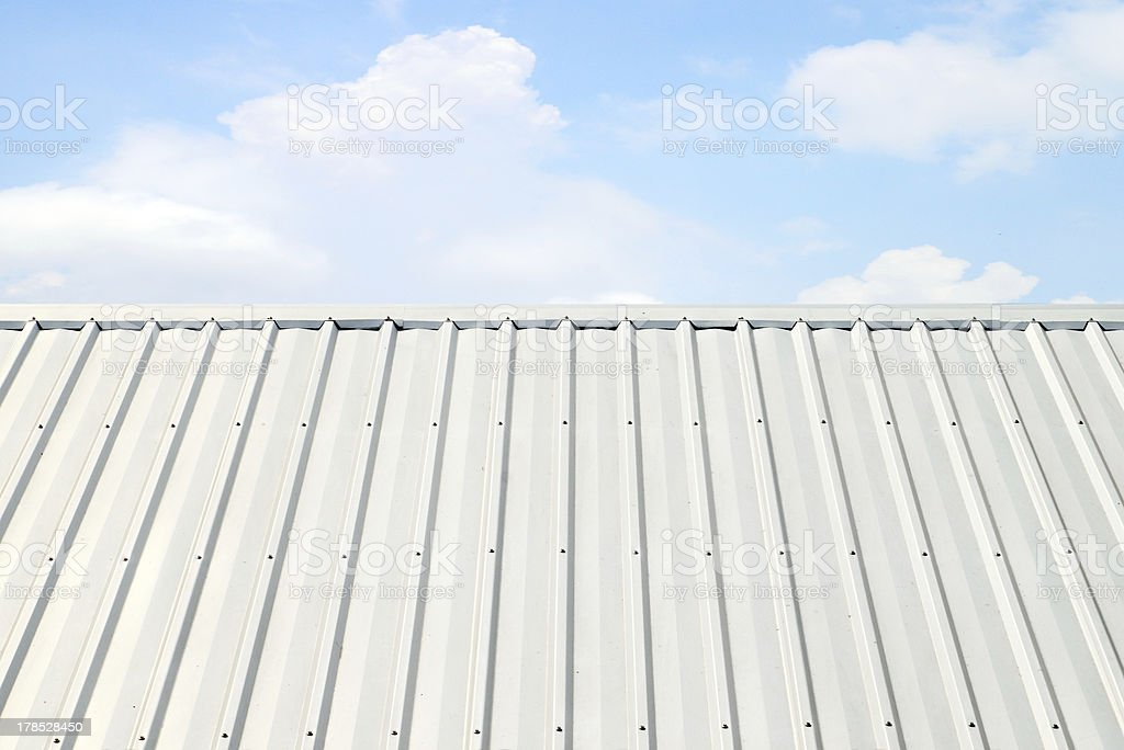 corrugated aluminum roof with blue sky royalty-free stock photo