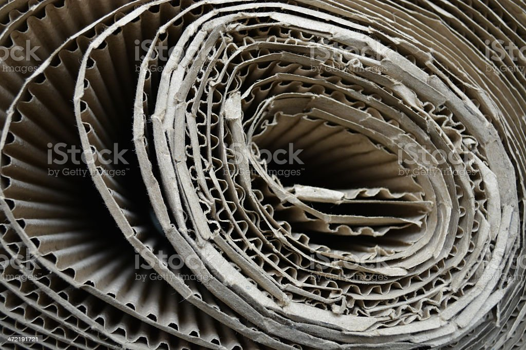 corrugated cardboard rolled up background royalty-free stock photo