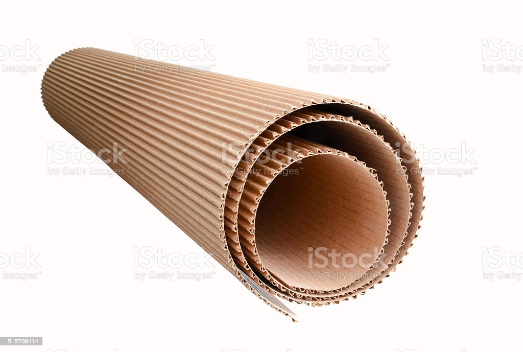 corrugated cardboard rolled up stock photo