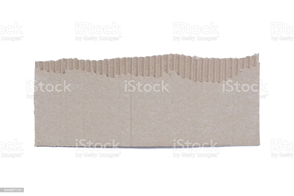 corrugated cardboard torn and isolated on white stock photo
