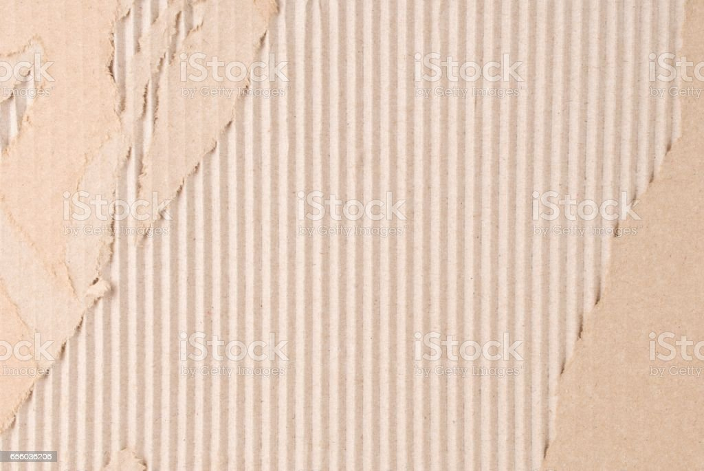 Corrugated Fiberboard with Paper Face Peeled Off stock photo