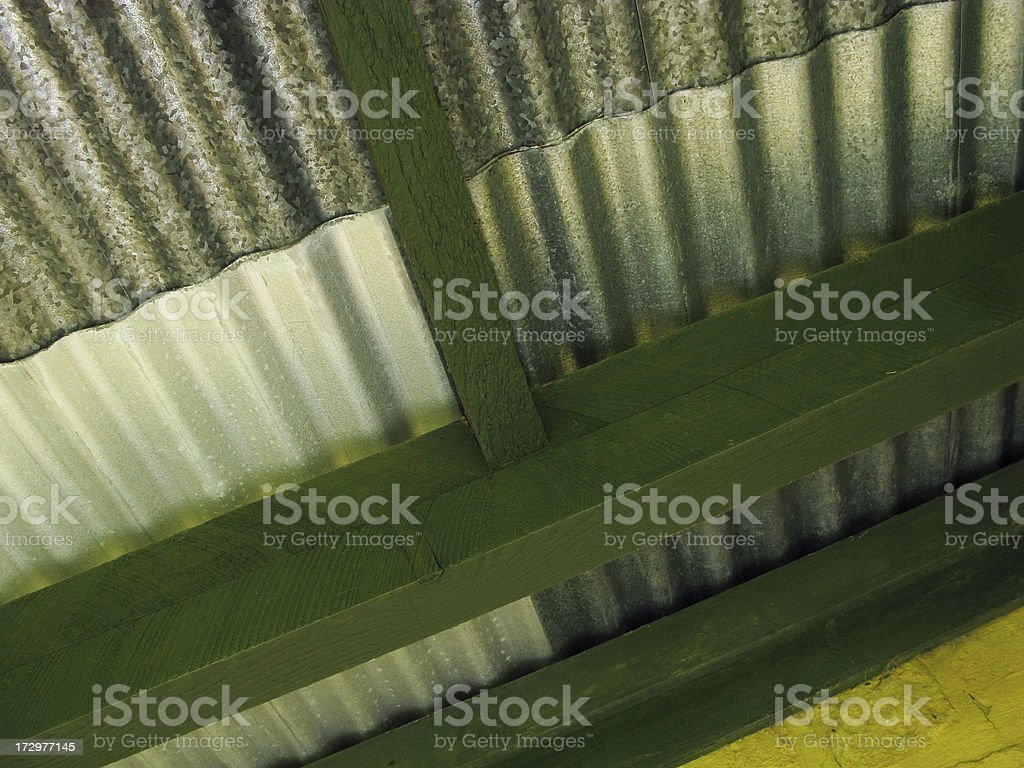 Corrugated Iron Roof. stock photo