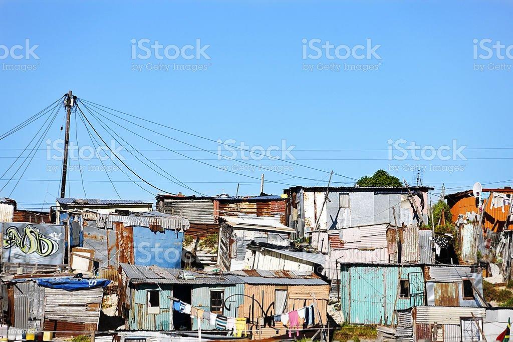 Corrugated iron shacks in Khayelitsha, Cape Town royalty-free stock photo