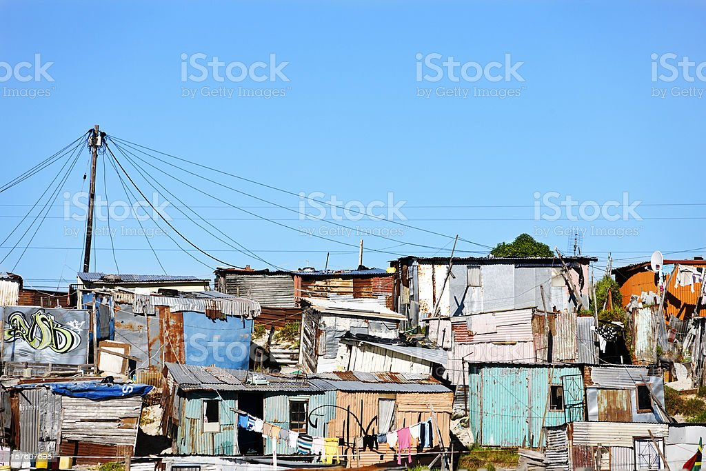 Corrugated iron shacks in Khayelitsha, Cape Town stock photo