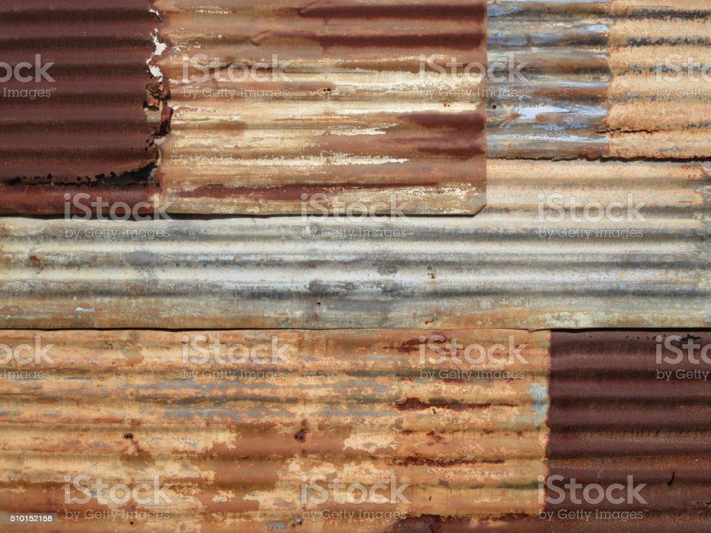 Corrugated iron sheet stock photo