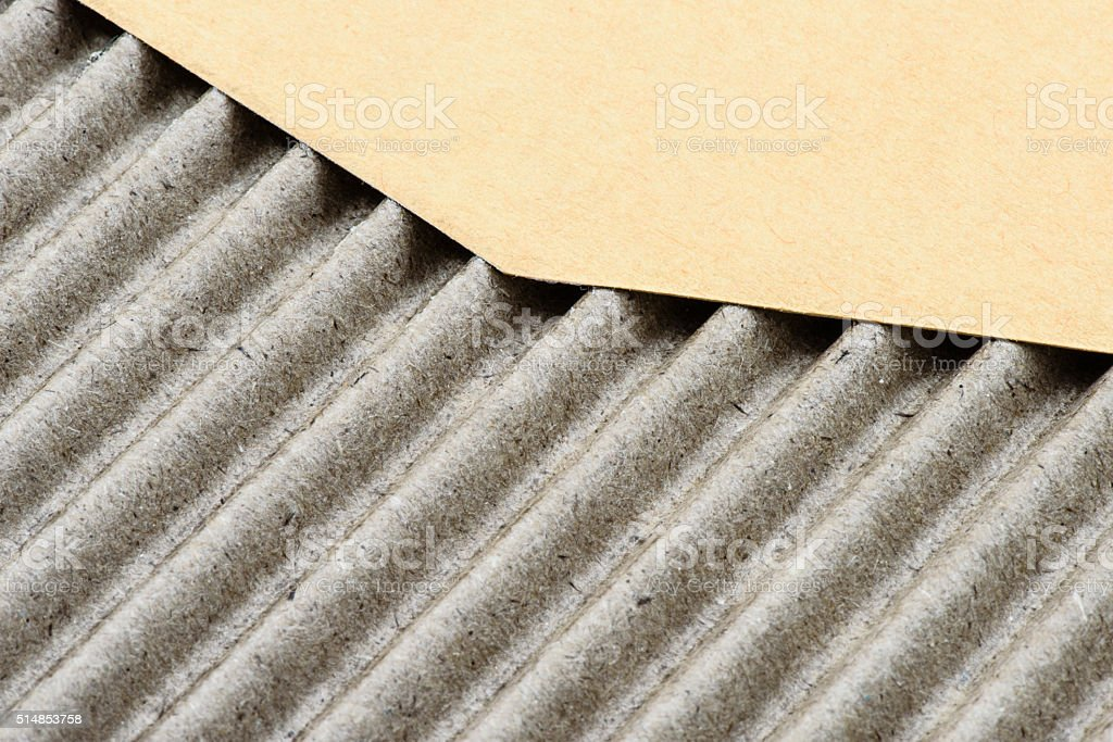 Corrugated Medium and Outside Liner Cardboard Sheet Textures,  Kraft Paper stock photo