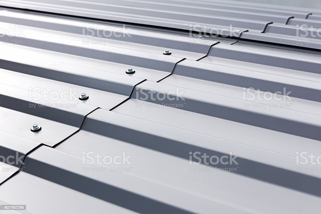corrugated metal cladding on industrial building roof stock photo