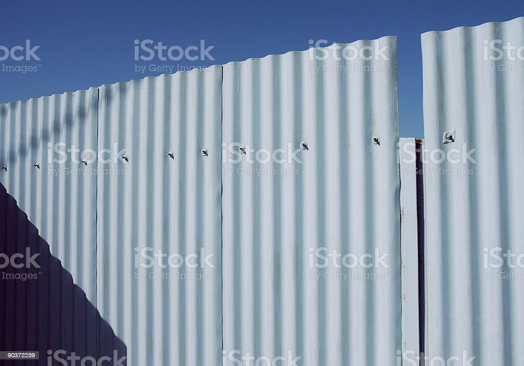 Corrugated Metal Fence royalty-free stock photo