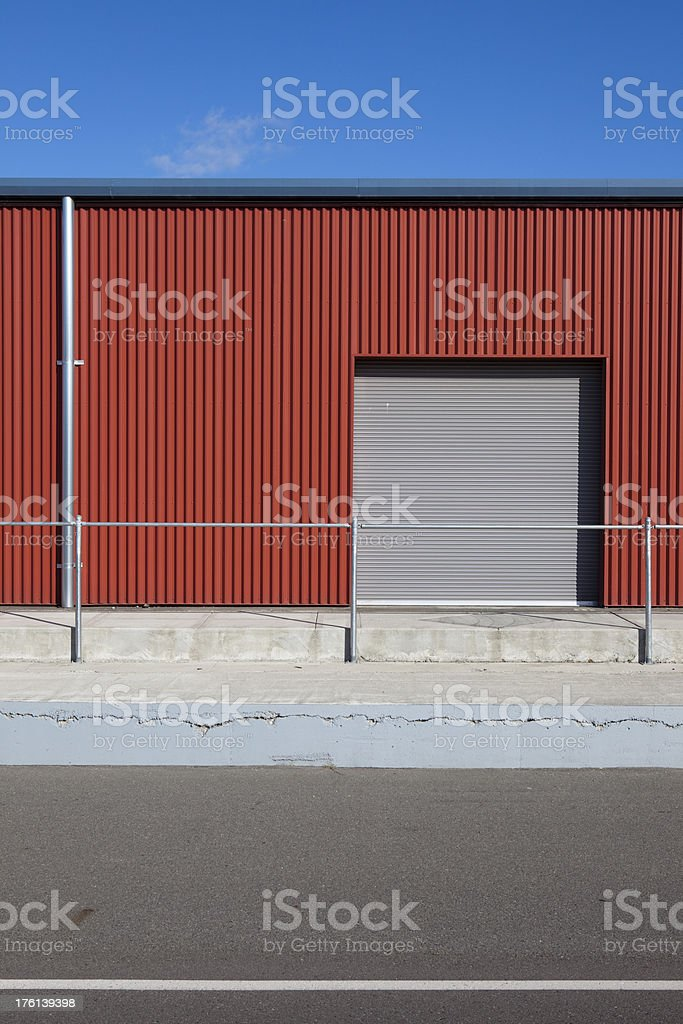 Corrugated Metal Industrial Warehouse and Door XXXL royalty-free stock photo