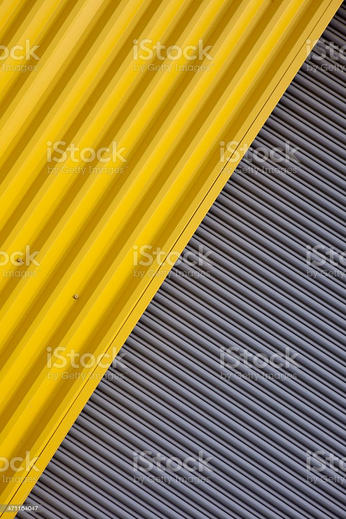 Corrugated Metal Industrial Warehouse Wall XXXL royalty-free stock photo