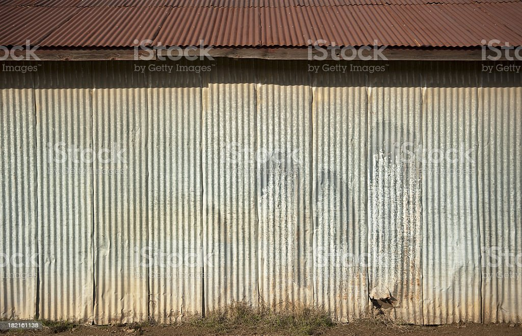 Corrugated metal wall royalty-free stock photo