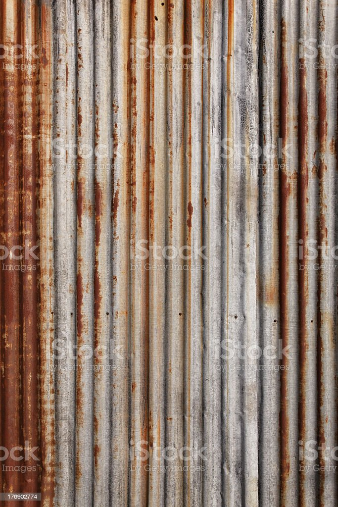 corrugated sheet metal surface, plan view stock photo