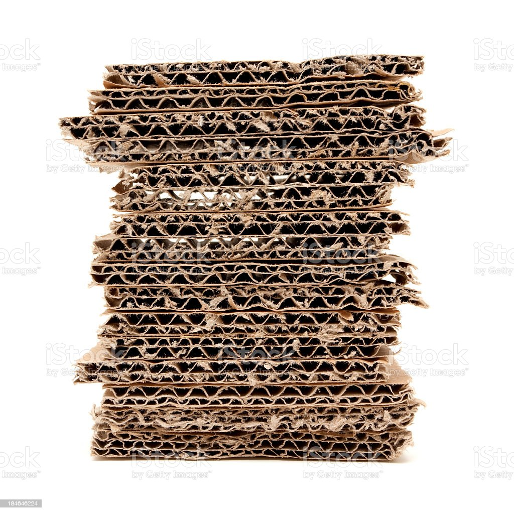 Corrugated stacked cardboard textured background isolated stock photo