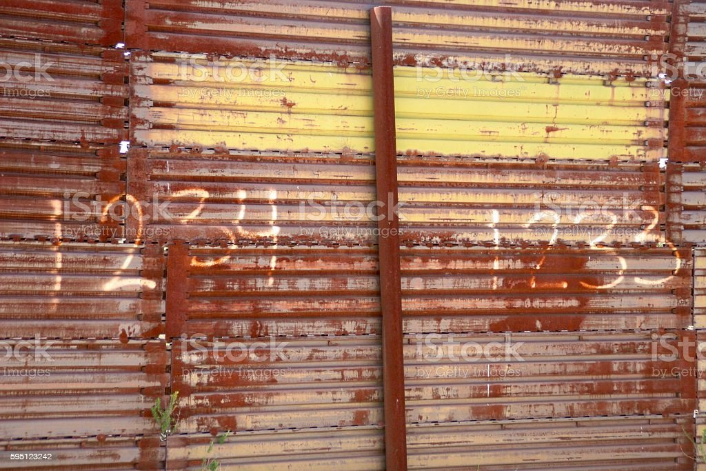 Corrugated Steel Fence stock photo