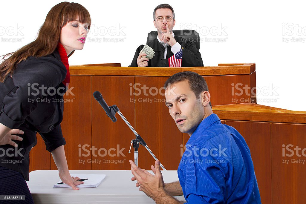 Corrupt Judge Taking Bribes at a Court Trial stock photo