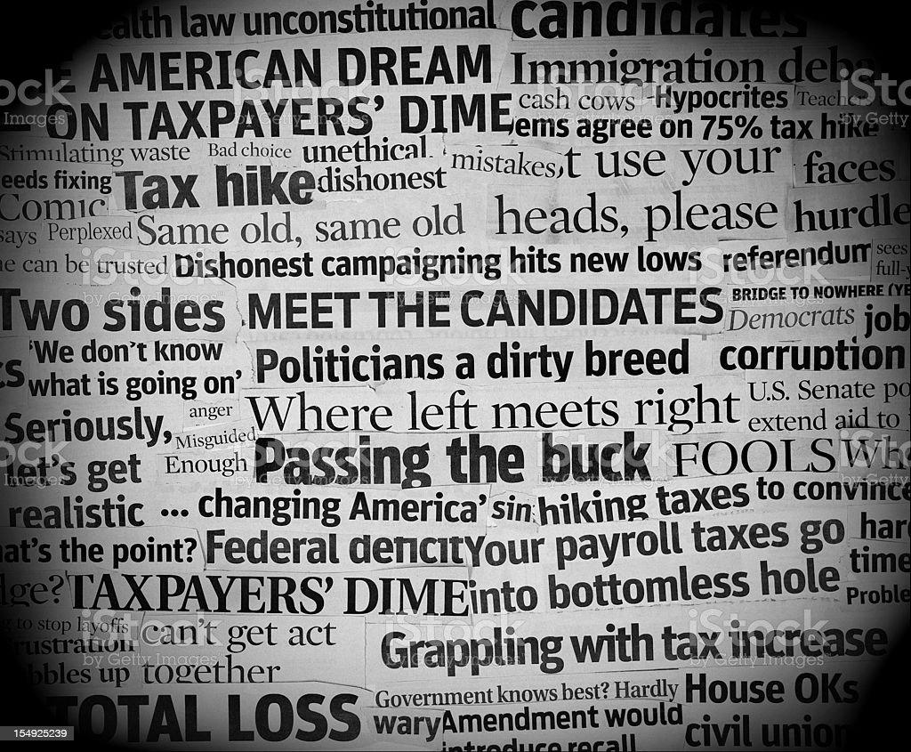 corrupt political headlines stock photo