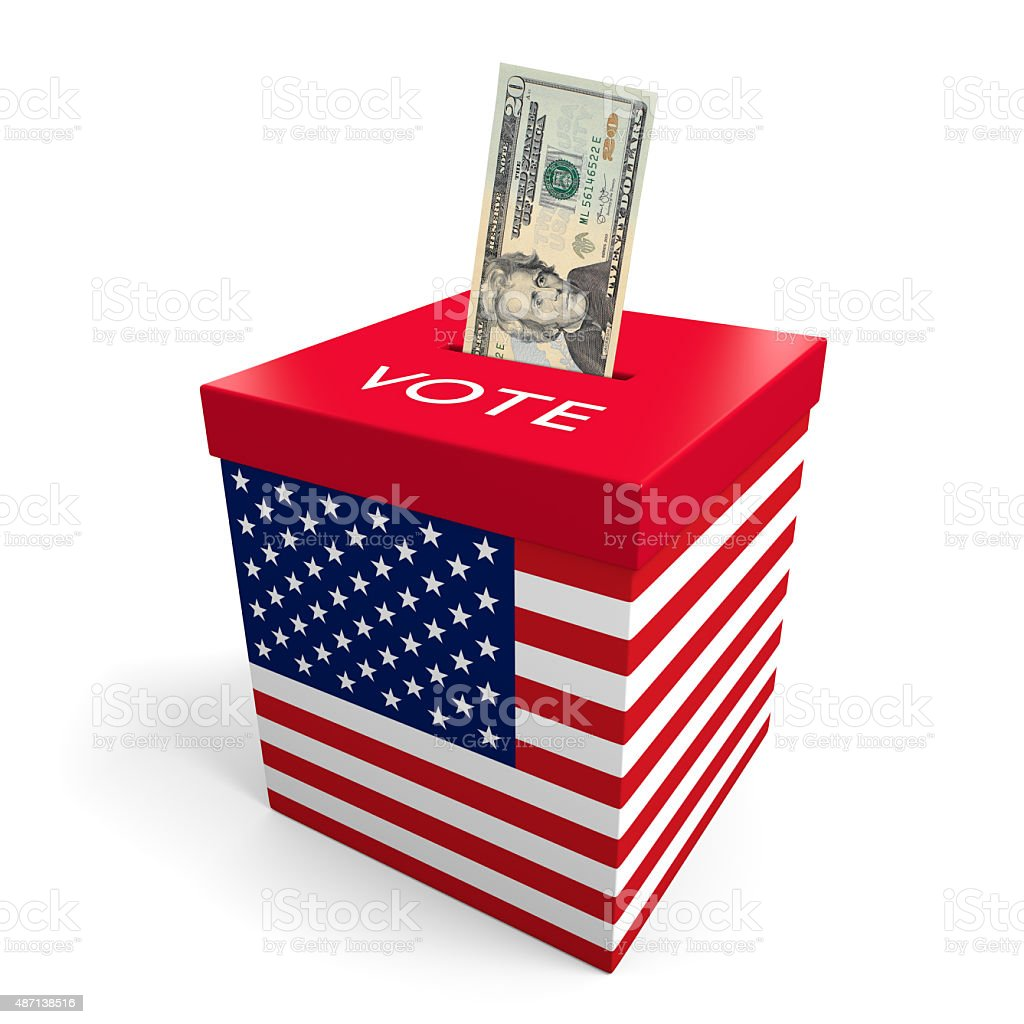 Corruption and big money lobbying in American election politics stock photo