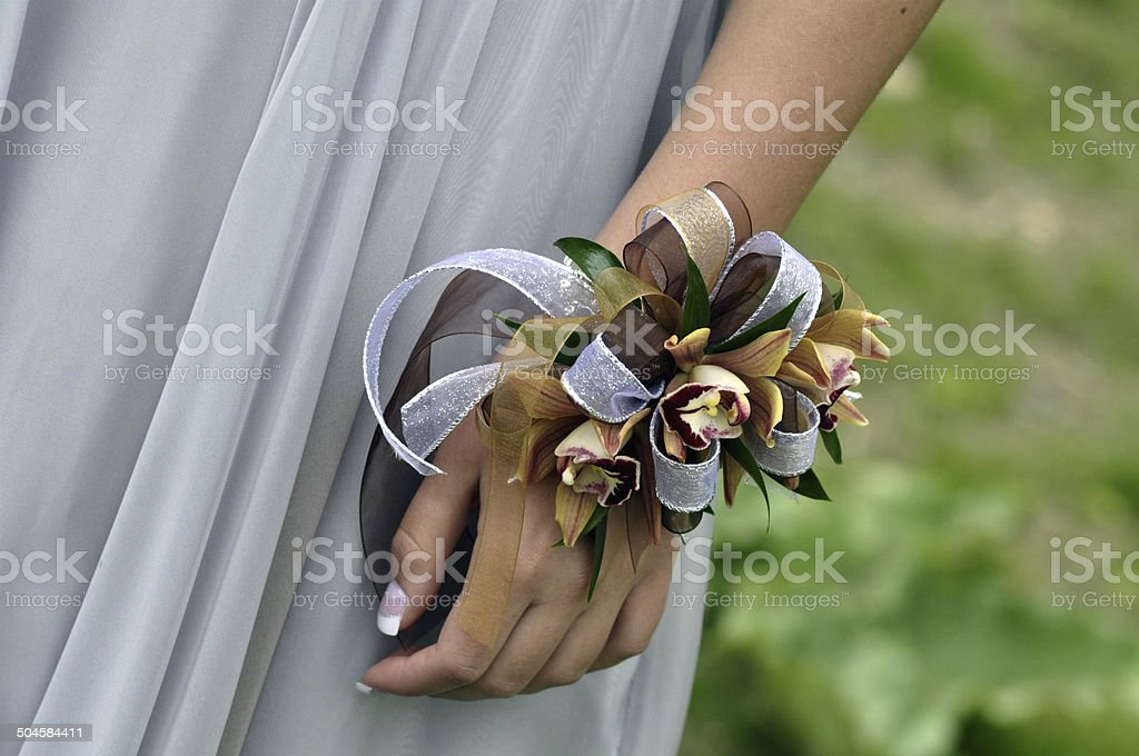 Corsage on Girl's Wrist stock photo
