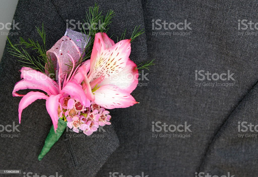 corsage on gray suit royalty-free stock photo