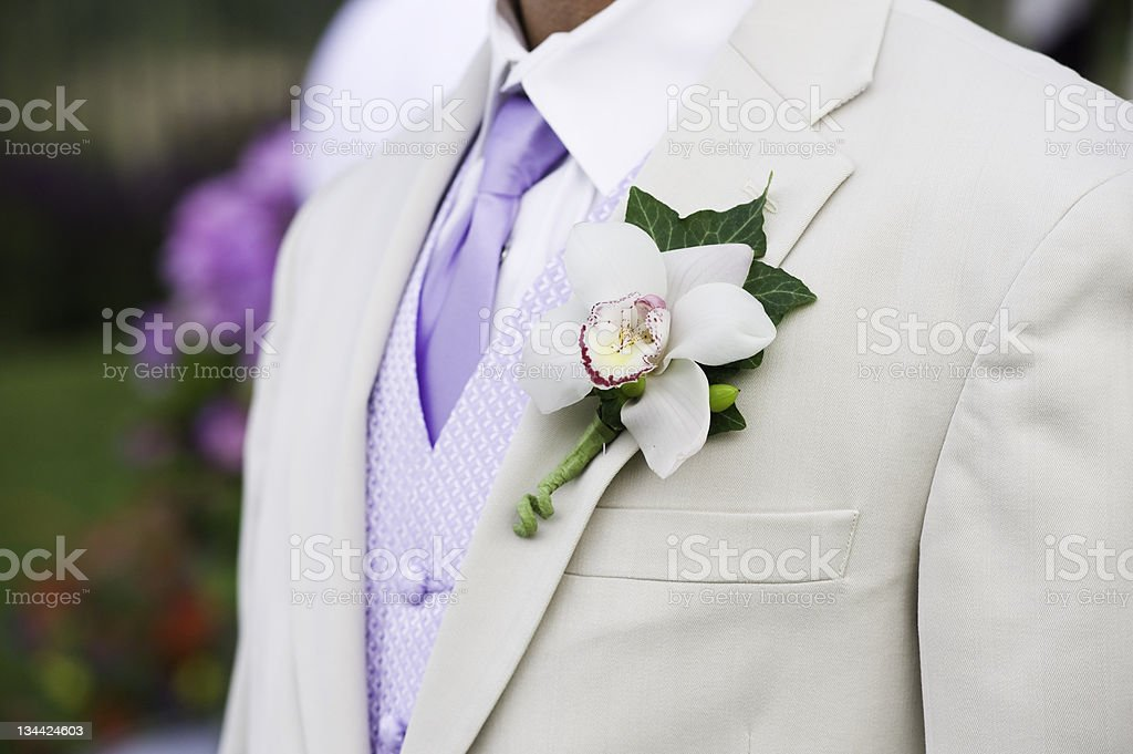 Corsage on Groom Close-Up Detail royalty-free stock photo
