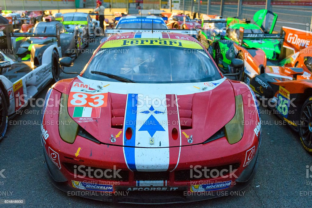 AF Corse Ferrari 458 GTE in Parc Ferme stock photo