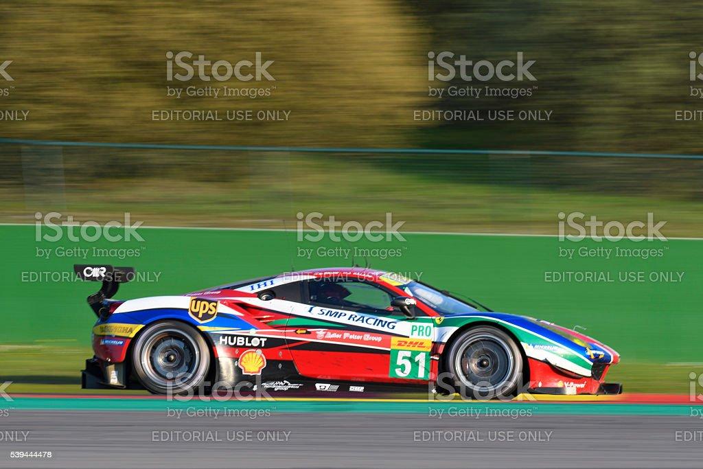 AF Corse Ferrari 488 GTE 2016 race car stock photo
