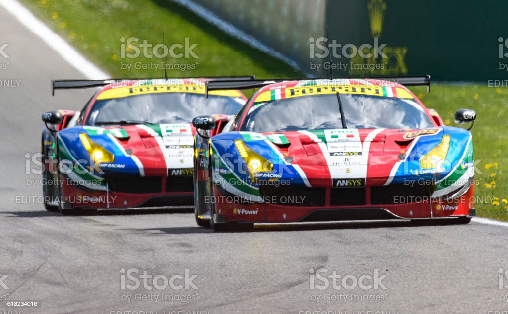 AF Corse Ferrari 488 GTE race cars stock photo