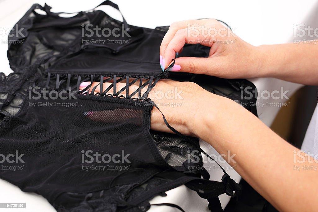 Corset, lingerie bridle. stock photo