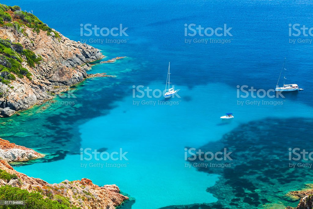 Corsica, Coastal summer landscape with yachts stock photo