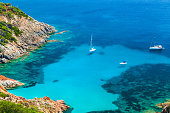 Corsica, Coastal summer landscape with yachts