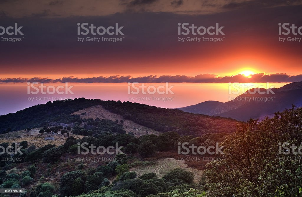 Corsica sunset royalty-free stock photo