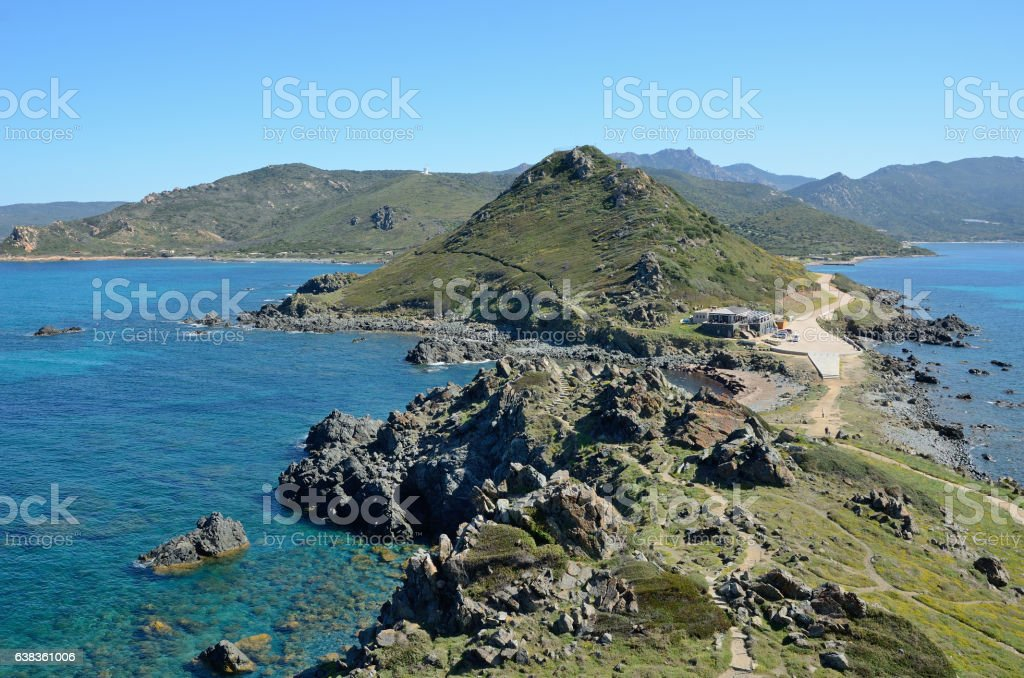 Corsican coast with the rocky islands stock photo