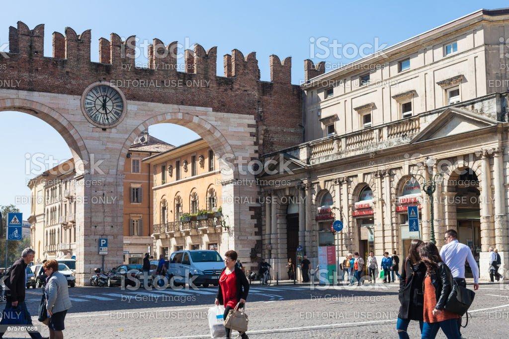 Corso Porta Nuova street and medieval Bra Gates stock photo