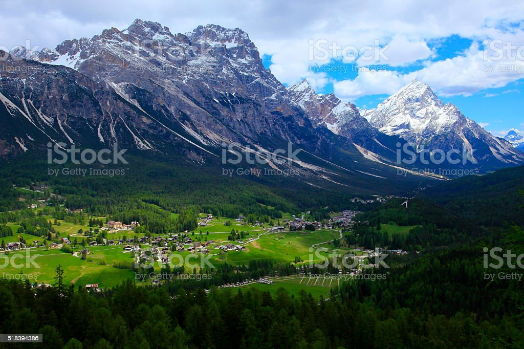 Cortina D´Ampezzo alpine village panorama, Dolomites, Italian Tirol alps stock photo